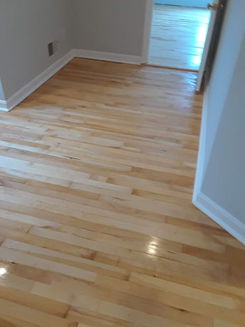 refinished maple floor with one coat of sealer