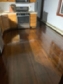 refinished fir floor with stain
