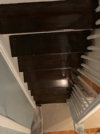 refinished stairs with stain