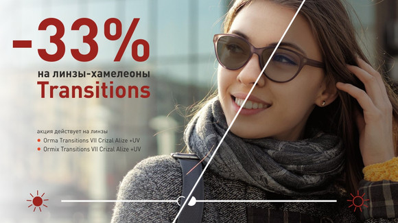 -33% на фотохромные линзы Crizal Transitions