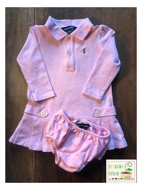 Vestido manga longa com calcinha rosa - Ralph Lauren