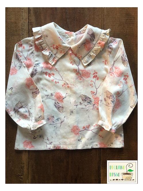 Camisa estampada gola babados - Silmara