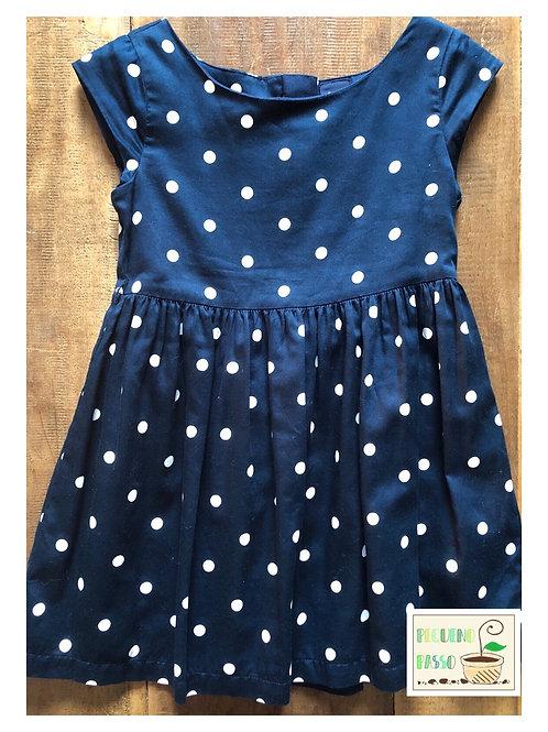 Vestido poá azul marinho - Gap