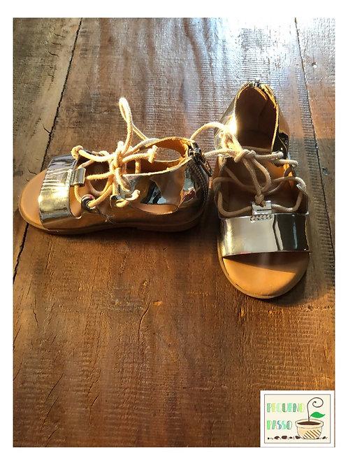 Sandália gladiadora prateada - Zara