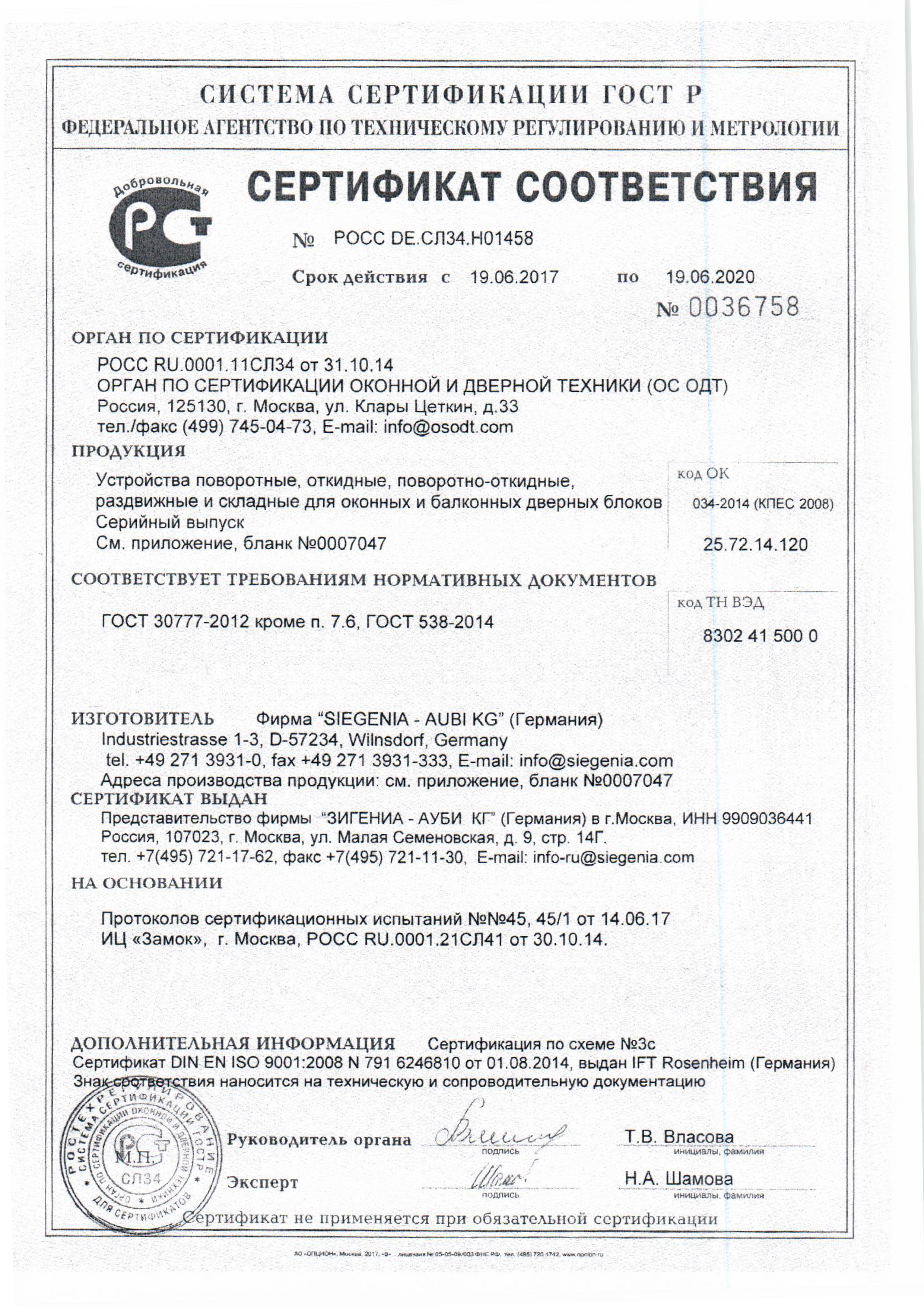 ЗИГЕНИЯ фурнитура-1
