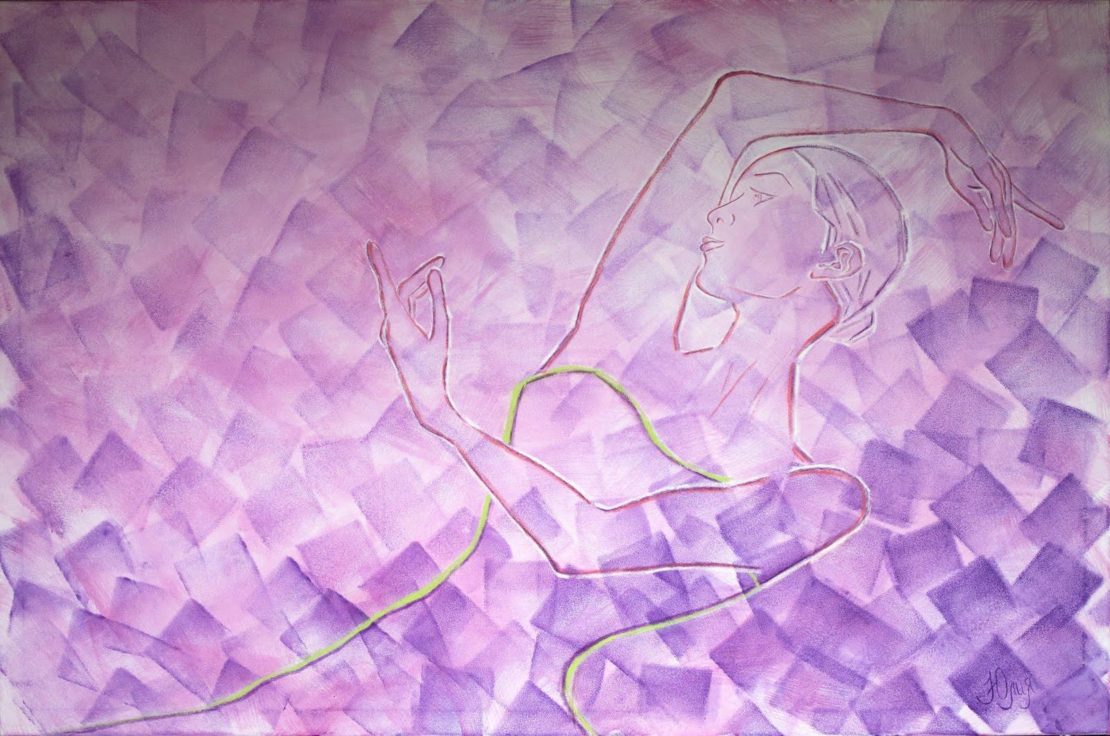 Oil pastel, acrylic on canvas, 100x150 cm