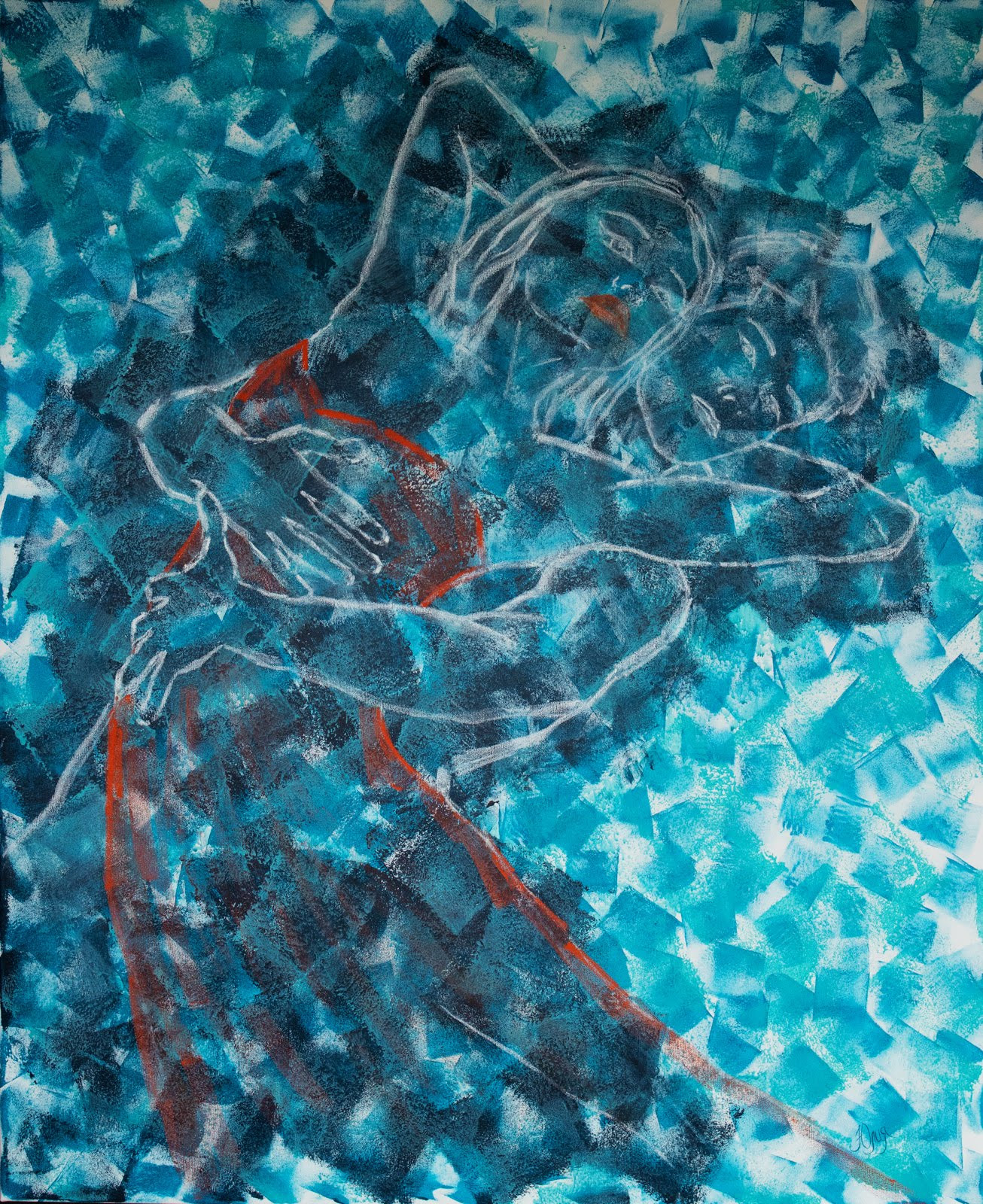 Oil pastel, acrylic on canvas, 100x120 cm