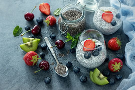 Chia pudding with berries, healthy break