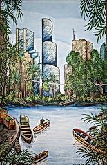 miami skyline three 18x24 XX  XOXOXOXO