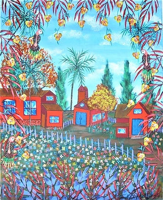 # 38 A Birds View Little Red Barns 16x20