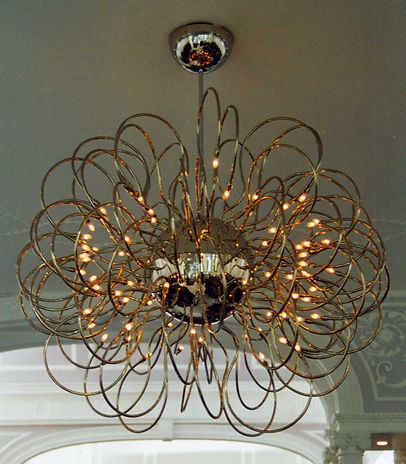 chrome twisted chandelier