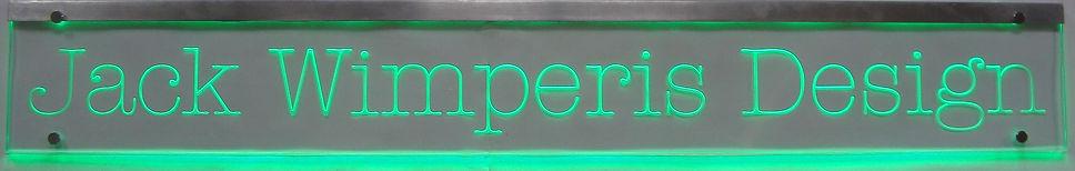 edge lit sandblasted sign typewriter font green leds