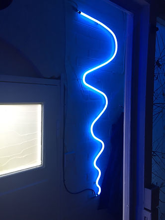 neon wall light in blue