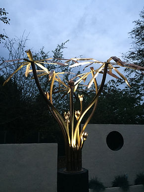 copper tree light sculpture