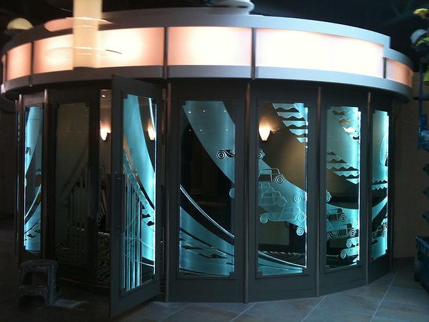 sandblasted lit cinema doors