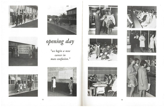 A semester opening day at Lakeshore Teachers' College in 1969. The school would be closed 2 years later.   Source:  Thaskala: Lakeshore Teachers' College Yearbook, 1969 Photo courtesy of the Lakeshore Grounds Interpretive Centre.