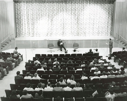 A 1970s faculty forum in the auditorium at the Lakeshore Teachers' College.   Source: Humber Libraries' Archive, Photo HB-159. Retrieved from library.humber.ca/collections/archive.