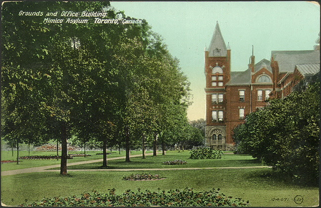A 1910 postcard showing the original design of the Administration Building of the Hospital. The tower over the front door was removed in the 1930s. Image courtesy of the Toronto Public Library.