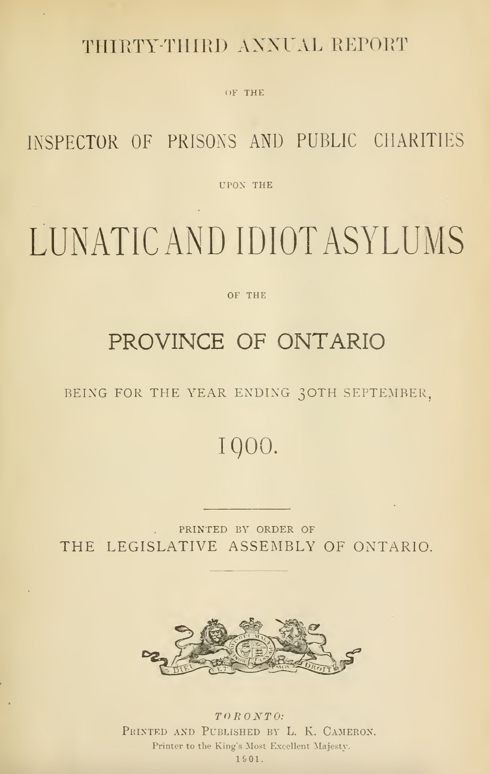 Cover page from the Annual Report of the Inspector of Prisons and Public Charities in Ontario for for 1900. The annual report typically included a summary of the institutions admissions and discharges, changes to the property or buildings, notes about treatment philosophies, and announcements of events that occurred during the year. contained statistics on the hospital. The full annual report can be read via Archive.org