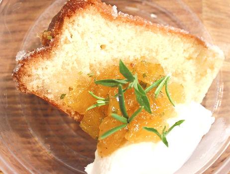 Lemon Cake With Ricotta Cheese & Rosemary Orange Compote