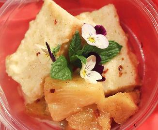 Tres LecheCake with Cinnamon Glazed Pineapple