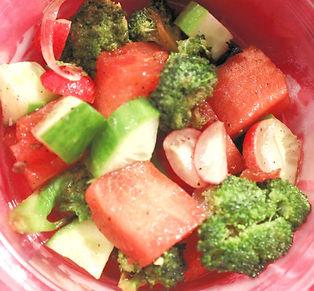 Roasted Broccoli, Cucumber, Radish & Melon Salad