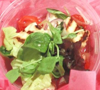 Ginger Roasted Tomato, Haloumi & Baby Leaf Salad