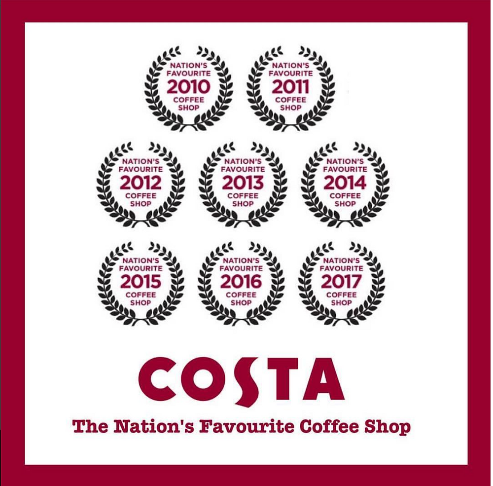 Costa Nation's Favourite Coffee Shop - 8th years in a row