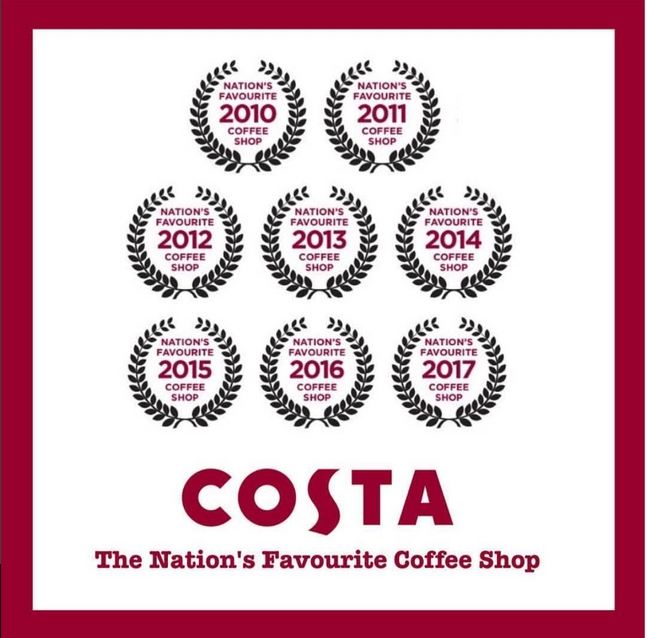 "Costa Coffee named ""NATION'S FAVOURITE COFFEE SHOP BRAND"" for the eighth year in a row"