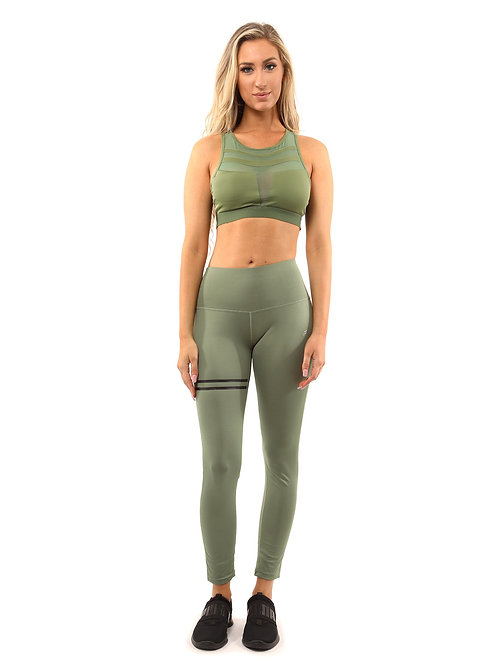 ClarisRemy Set - Leggings & Sports Bra - Olive Green