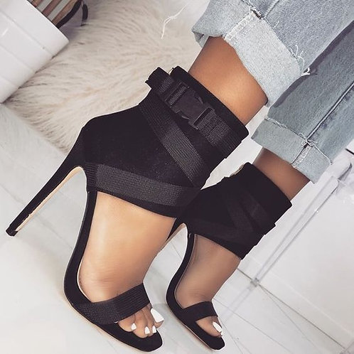 Lace-up Peep Toe Ankle Heels