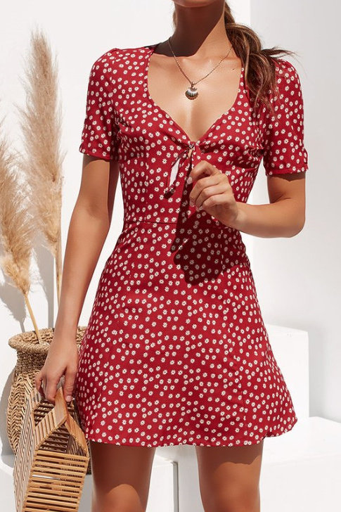 Sexy Mini Floral Boho Dress