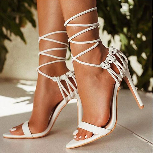 Open toe stiletto high heels