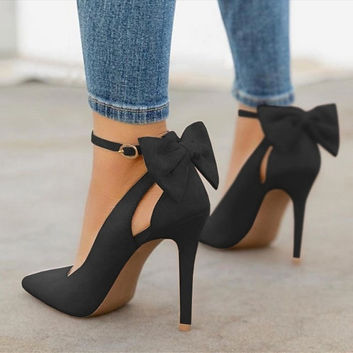 Pointed Toe Stiletto  Black  Shoes