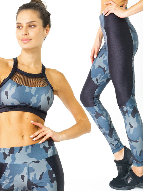 ClarisRemy Grey Camouflage Legging & Sports Bra Set