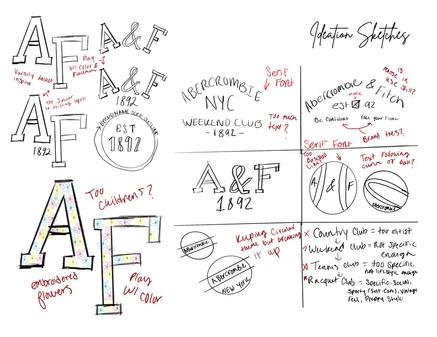 A&F Raquet Club | Ideation Sketches