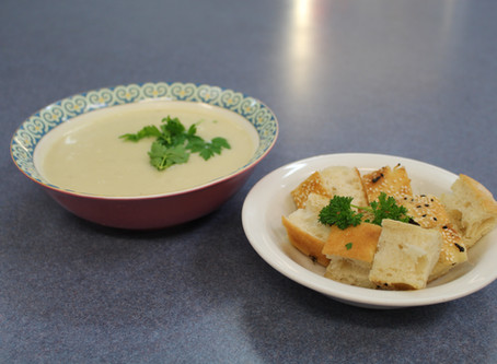 Cauliflower Soup with Garlic and Herb Croutons