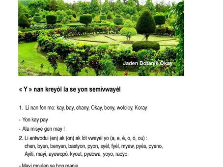 Leson 7: ''Y'' Nan Lang Kreyòl la