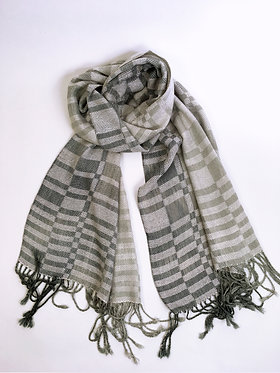 Gray Handwoven Wrap Subway Scarf
