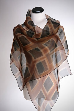 Silk Scarf in Black Squares