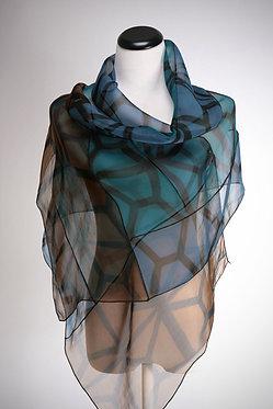 Shades of Blue Shibori Evening Wrap