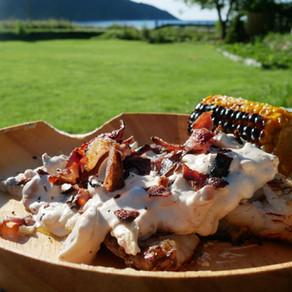White fish with creamy chanterelle sauce & bacon