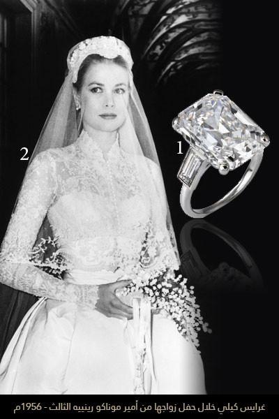 غرايس كيلي خلال حفل زواجها من أمير موناكو رينييه الثالث - 1956م