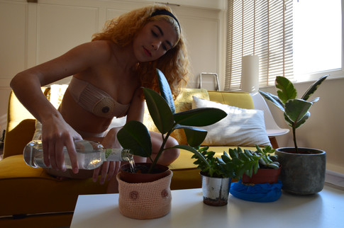 Taking care of her plants