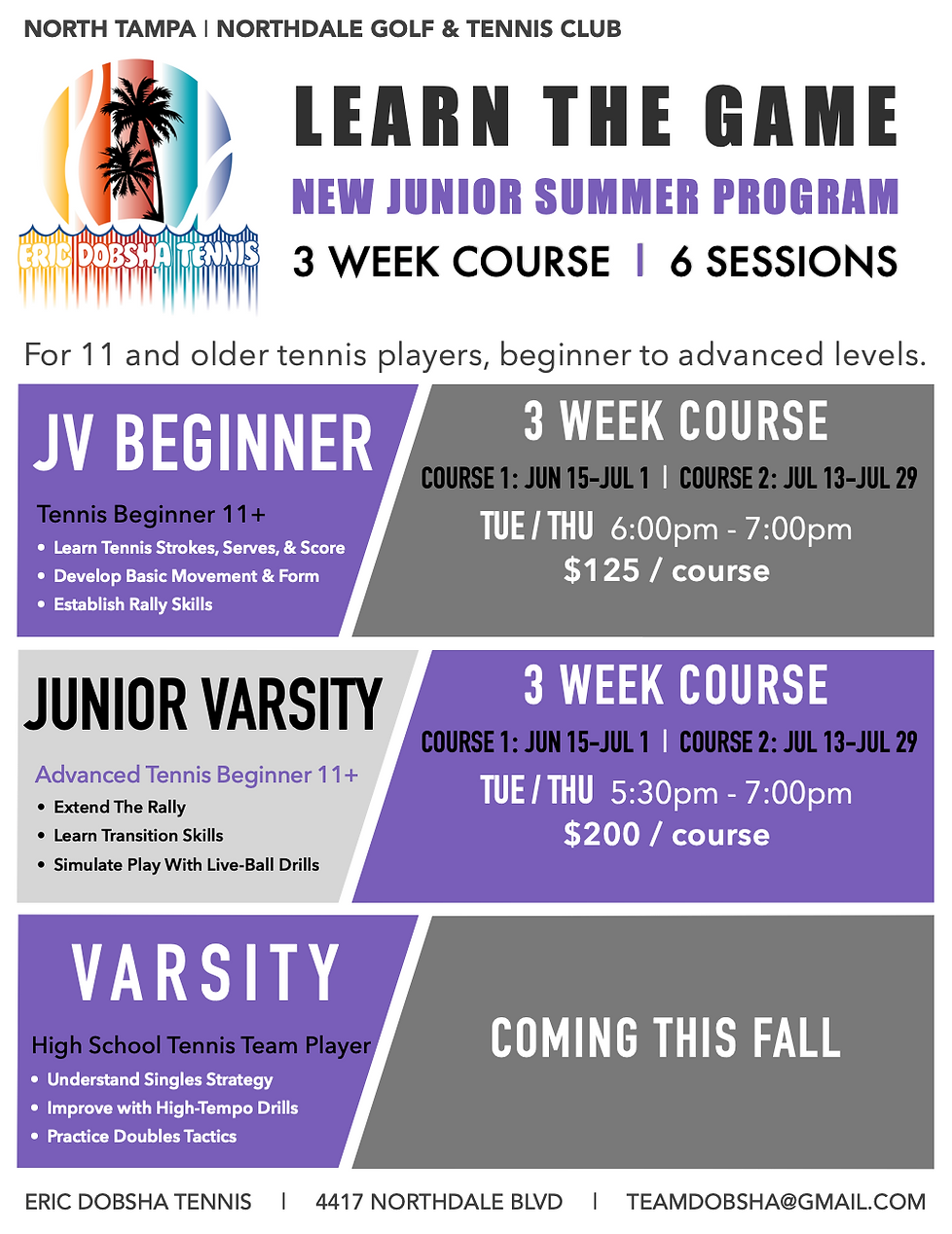 EDT JV:Varsity Program SUMMER 2021 Overv