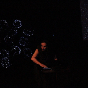 Artist Juan Cortes performing Solar Flares