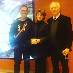 Asher Remy-Toledo with Colombian artist Clemencia Echeverri and Isaac Dyner at the opening of her exhibition during ISEA at Banco de la Republica in Manizales