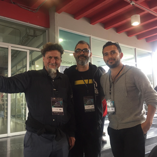 Curator and ISEA Board member Rob la Frenais, Asher Remy-Toledo and artist Juan Cortés