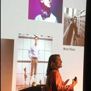 Paola Antonelli curator of MOMA's Design Dept. at one of the talks for CTW at the Arts Hub. Here talking about two of Hyphen Hub's Community Members Neil Harbisson and Moon Ribas