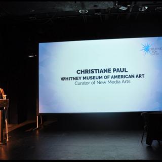 Hyphen Hub's Community Member Christiane Paul, curator of Media Dept at the Whitney Museum presenting at CTW Art Hub